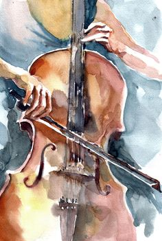 """Cellist"" • Faruk Koksal, 2011 {watercolor}"