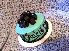 Aqua Teal Music Cake made for a birthday by Patsy's Sweet Shoppe in West Allis, WI.