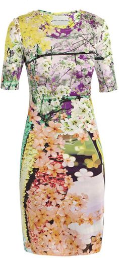 This silk-jersey dress has a round-neck, half sleeves and easily slips on with multi-coloured floral print.