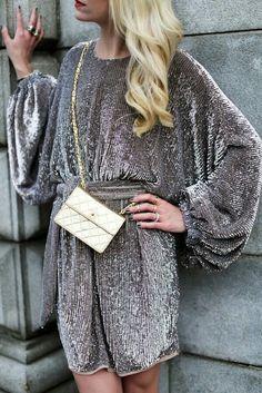 Chic gray metallic dress.