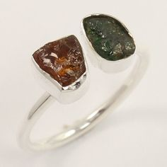 Stacking Ring Size US 6 Natural MULTI-TOURMALINE Gemstones 925 Sterling Silver…