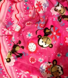 Minky Baby Blanket Funky Monkey Floral Stripe Back. Car Seat Stroller 29x36 in by DesignsByDiBlankets, $49.00 USD