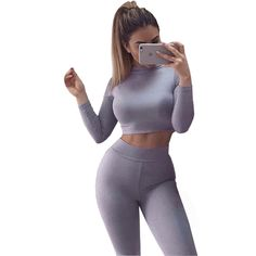 2 Piece Jumpsuit Womens Two Piece Outfits Sets 2016 Sexy Skinny Casual Crop Top and Long Pants Long Sleeve Bandage Jumpsuit