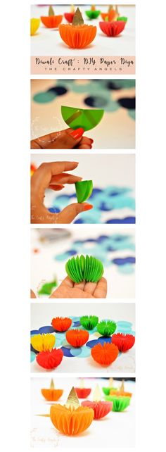 Easy and simple diwali craft tutorial to make diwali paper diya as diwali decoration: DIY Paper Diwali Lantern Step By Step: Marigold Flower with Crepe Paper: DIY TIssue Paper Diwali Lantern Step By Step:. Diwali Lantern, Diwali Lights, Diwali Decorations At Home, Kids Party Decorations, Ganpati Decoration At Home, Thali Decoration Ideas, Quince Decorations, Wedding Decorations, Decor Ideas
