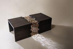 """Entanglement of two souls"" Wooden Oak table with copper-plated lacquered Arabic calligraphy. 45cm*130cm* 60cm . لَيتك تحلو والحياة مريرةٌ، ليتك ترضى والأنام غِضابُ، ليت الذي بيني وبينك عامرٌ وبيني وبين العالَمين خرابُ"