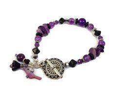 Amethyst Bracelet Purple Gemstone Jewelry Unique Gift