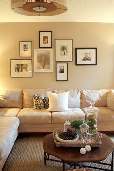 Behind couch, above couch, frame layout, picture arrangements, photo arrang Decor, Room, Home Living Room, Interior, Living Room Decor, Home Decor, Interior Design, Living Decor, Home And Living