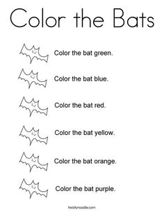 Color the Bats Coloring Page - Twisty Noodle Bat Coloring Pages, Halloween Coloring Pages, Colouring, Letter B Activities, Kids Prints, Mini Books, Bats, Noodle, Halloween Crafts