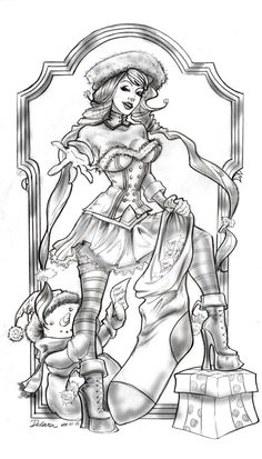 Pinning some pinup art. Irony? Maybe.     Christmas 2012- The Collector of Christmas Wishes by crisdelarastudio on deviantART