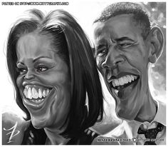 Gay Barack and his tranny wife. Caricature Artist, Caricature Drawing, Funny Caricatures, Celebrity Caricatures, Portrait Au Crayon, Michelle And Barack Obama, Wow Art, Funny Art, Funny Faces