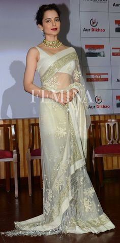 Kangana Ranaut went Indian at the launch of the Swachh Bharat campaign video. She looked ethereal in an ivory embroidered tulle sari by Sabyasachi. Classic Indian Saris CLICK VISIT link above to read Indian Wedding Outfits, Indian Outfits, Indian Clothes, Moda Indiana, Indian Fashion Trends, Stylish Sarees, Bollywood Saree, Bollywood Fashion, Saree Fashion