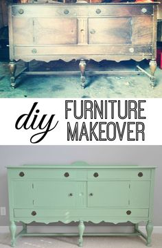 DIY Furniture Makeover.  Love the green!