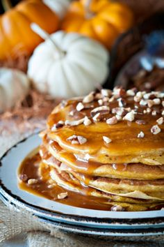 La Cajeta on Pumpkin Pancakes with Ginger, Cinnamon, Nutmeg, and Chopped Pecans....