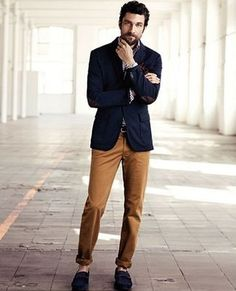 Men's' Tobacco Chinos, Navy Suede Loafers, Navy Blazer, and White and Navy Gingham Longsleeve Shirt