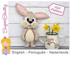 Felt pattern Ruby the Rabbit, softie pattern animal, plush pattern bunny, pdf sewing pattern easter by Superskattig