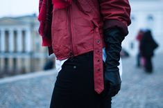 RED REIDING HOOD: RED REIDING HOOD: Fashion blogger wearing vintage red leather jacket with straps checkered tartan plaid scarf layers layering outfit details moonboots Moon Boot vagabond helsinki long leather gloves Mango Rib Boyfriend Beanie Levi's Curve ID Isabel Marant Pour H&M tank top model off duty streetstyle