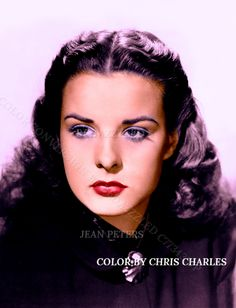 JEAN PETERS BEDAZZZLED TECHNICOLOR CONVERSION BY BEDAZZZLED FROM B/W PRINT Hollywood Icons, Vintage Hollywood, Classic Hollywood, Jean Peters, Vivien Leigh, Movie Photo, Do You Remember, Audrey Hepburn, Beautiful Actresses