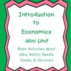 There are 7 very basic, introductory economics student activities included in this mini-unit.   -Jobs Pre-writing web (Students draw job in the mid...