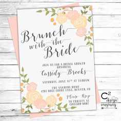 brunch with the bride invitation floral design custom colors high