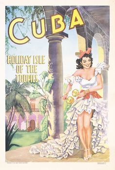 RARE Original Vintage 1950s Cuba Holiday Travel Poster
