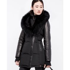 RUDSAK - GRACE - blk puffer jacket with leather sleeves and large hood