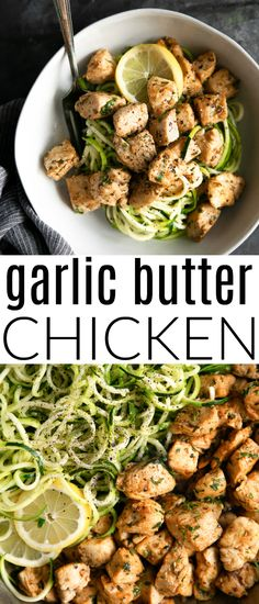 zucchini skillet chicken noodles filled cooked garlic butter large bites with and in Large skillet filled with cooked chicken bites and zucchini noodles in garlic and butterYou can find Healthy chicken and more on our website Zucchini Noodle Recipes, Healthy Chicken Recipes, Healthy Dinner Recipes, Cooking Recipes, Recipe Zucchini, Paleo Dinner, Crockpot Recipes, Shrimp Recipes, Casserole Recipes