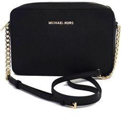 Pre-owned Michael Kors Black Leather Crossbody Bag (£49) ❤ liked on Polyvore featuring bags, handbags, shoulder bags, purses, leather shoulder bag, crossbody shoulder bags, leather crossbody, cross body purse and black crossbody