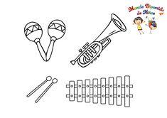 Paginas para colorear para niños Molde para descargar, Instrumentos musicales para niños Coloring Pages for kids Molde, Coloring Pages For Boys, Learn To Draw, Tutorials