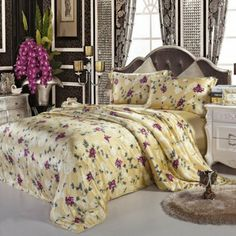 Orifashion Ancient Gold Silver 4-Piece Silk Bedding Set (BSSKFP008), Super King Size: Amazon.co.uk: Kitchen & Home