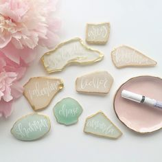 Sea Glass Place Cards with White Calligraphy by Pour L'Amour  www.pourlamoucreative.com
