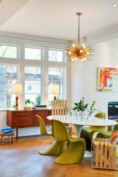 36 Stunning Mid Century Dining Room Design Ideas - Popy Home Skandinavisch Modern, Beautiful Modern Homes, Mid Century Modern Living Room, Mid Century House, Apartment Interior Design, Home Interior, Modern House Design, Modern Interior Design, Minnesota