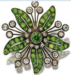 Rare Demantoid Garnets in a Floral Brooch