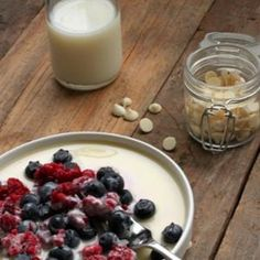 Frozen Berries with a Hot White Chocolate Sauce