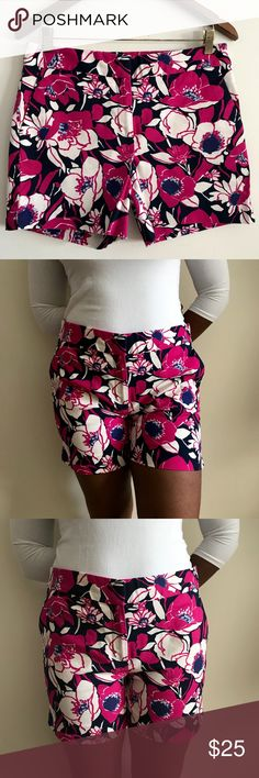 Talbots Summer Shorts Very nice excellent condition Talbots floral summer shorts. Size 8. Zip and clasp closure. Pink navy and white. 97% cotton 3% spandex. 33 waist 15.5 length Talbots Shorts
