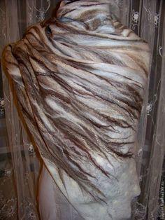 """Купить Палантин """"В ожидании снега"""" - бежевый, рисунок, шерстяной шарф, валяный шарф"""
