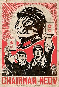Cats in Art and Illustration Illustrations, Illustration Art, Street Art, Propaganda Art, Chinese Propaganda, Communist Propaganda, Kunst Poster, I Love Cats, Cat Art