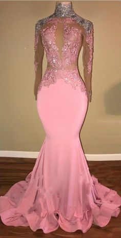 Elegant Pink Mermaid Prom Dresses _High Neck Open-Back Beaded Evening Gowns Wedding Dress Black, Black Girl Prom Dresses, Mermaid Prom Dresses Lace, Senior Prom Dresses, Cute Prom Dresses, Prom Outfits, Prom Dresses Long With Sleeves, Pink Wedding Dresses, Dress Lace