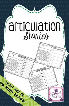 Articulation Stories: no prep awesomeness for mixed speech and language therapy groups. Story level. Print and go.
