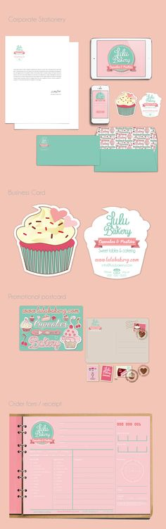 LULU BAKERY from beautiful cupcakes to sweet tables, this small business prides itself on handmade and personalized sweet treats.My goal was to create an identity that reflected their sweet personality and love for bakery. The Logo sumarizes clearly the … Bakery Branding, Bakery Logo, Logo Branding, Baking Business, Cake Business, Business Card Design, Cupcake Logo, Cupcake Shops, Brand Packaging
