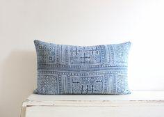 Vintage indigo blue batik Hmong cushion cover 12x20 by ImprintsandIndigo on Etsy https://www.etsy.com/listing/229427813/vintage-indigo-blue-batik-hmong-cushion