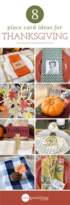 Thanksgiving Place Card Ideas. Creative and Beautiful ideas for your guests! more at onegoodthingbyjillee.com