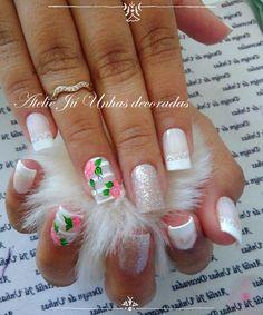 As melhores unhas brancas decoradas de sempre Love Nails, Fun Nails, Pretty Nails, Cute Nail Art, Easy Nail Art, Nail Art Videos, Best Acrylic Nails, Nail Decorations, Finger