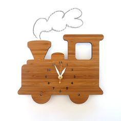 modern wooden Train wall clock for kids room by decoylab on Etsy Modern Kids Decor, Outdoor Clock, Clock For Kids, Bamboo Wall, Wall Clock Design, Wooden Train, Wood Clocks, Antique Clocks, Clock Decor