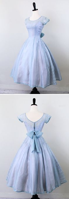 vintage 1950s 50s dress // Sky Blue and Lavender Cupcake Dress with Eyelet Panels and a Sweet Big Bow $224 etsy