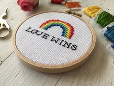Love Wins Cross Stitch LGBT Cross Stitch by houseofmiranda