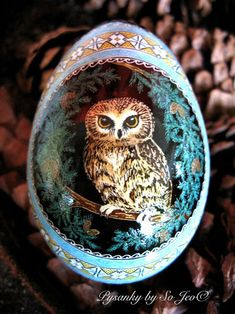 So Jeo LeBlond: Pysanky Easter Eggs with hand-painted Owl