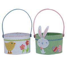 Chick & Bunny Felt Baskets