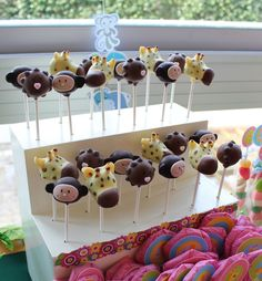 Cute jungle party cake pops!  See more party ideas at CatchMyParty.com!