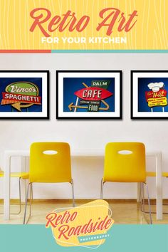 A collection of Los Angeles restaurant neon signs, perfect for the mid century modern kitchen or dining room.