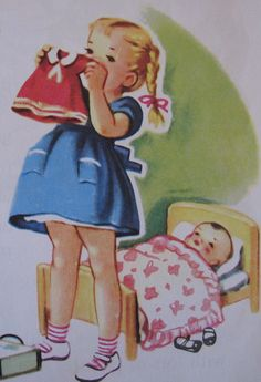 typical reading book illustration...cute little dress, right? vintage